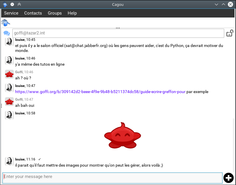 "Cagou ""chat"" mode screenshot"